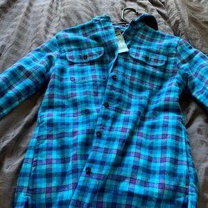 Girls flannel/fleece button jacket hoodie LL Bean